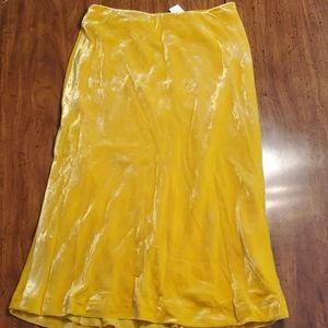 Anthropologie Yellow Velvet Skirt